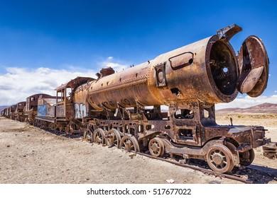 Trains Cemetery near Uyuni in Bolivia