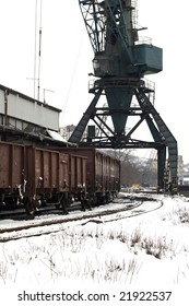 trains in freight yard winter Serbia