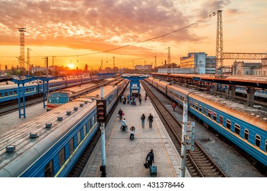 trains on rails at Ukraine station