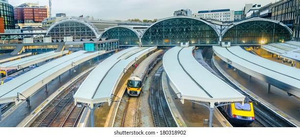 Trains at Paddington railway station in London, UK, panorama.