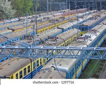 Trains at railway