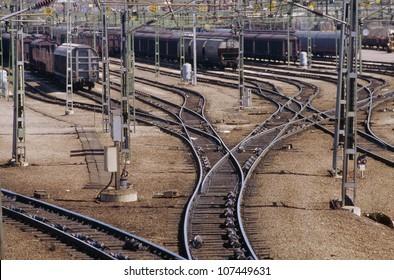 Trains in railway yard