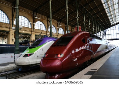 Trains sit in platform at Gare du Nord (Station of the North) railway station in Paris, France on April 20 , 2019