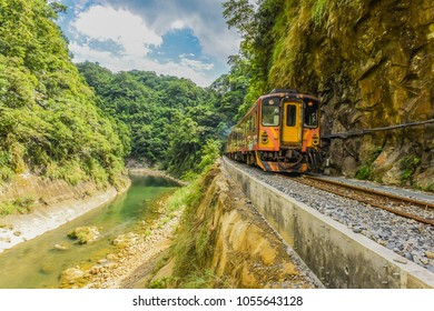 Trains Traveling at Pingxi Line (It's The Most Beautiful Branch Line in Taiwan Railway System, New Taipei City, Taiwan