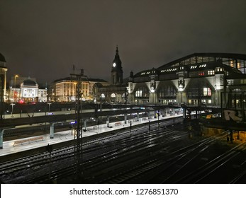 Trainstation at night light and shadow