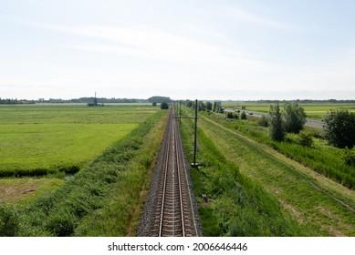 Traintracks near Alphen aan de Rijn Netherlands