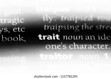 trait word in a dictionary. trait concept.