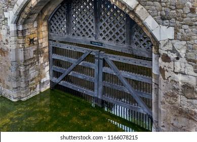 Traitors Gate in London, England, UK.