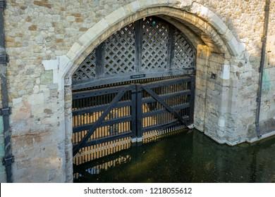 Traitors gate in London, UK