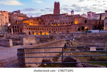 Trajan Forum in the morning at Rome Italy.