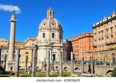 The Trajan Forum in Rome located between the Capitol and Quinine hills. Rome, Italy.