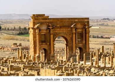 Trajan's Arch of Timgad, a Roman-Berber city in the Aures Mountains of Algeria. (Colonia Marciana Ulpia Traiana Thamugadi). UNESCO World Heritage Site