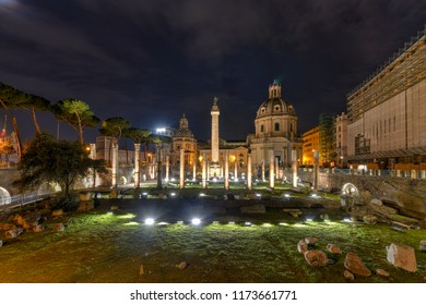 Trajan's Market, part of the Trajan's Forum, by night in Rome, Italy