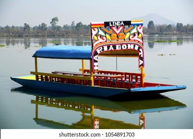trajinera at Lake xochimilco in Mexico City, Mexico. March 2007