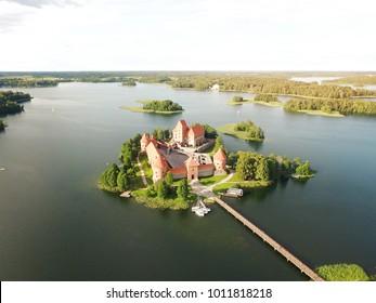 Trakai castle aerial photo - Trakai castle birds eye view photo