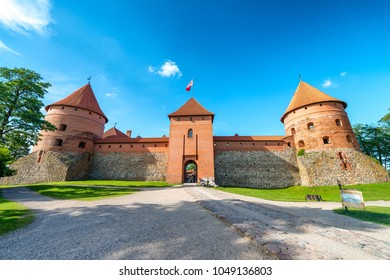 Trakai Castle exterior view on a beautiful summer afternoon, Lithuania.