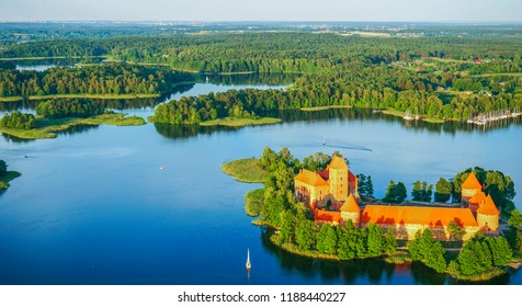 Trakai castle at Galves lake aerial view from balloon.