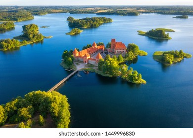 Trakai castle in Lithuania aerial view. Green islands in lake in Trakai near Vilnius. Trakai drone view