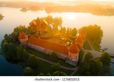 Trakai castle, Lithuania. Trakai castle at the sunrise. Beautiful view of Trakai fortress from above. Famous attraction of Lithuania.