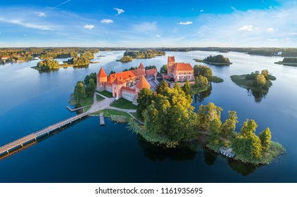 Trakai castle: medieval gothic Island castle, located in Galve lake. Flat lay of the most beautiful Lithuanian landmark. Trakai Island Castle - one of the most popular tourist destination in Lithuania