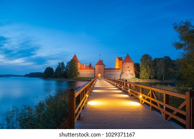 Trakai Castle at night - Island castle in Trakai is one of the most popular touristic destinations in Lithuania, houses a museum and a cultural center.