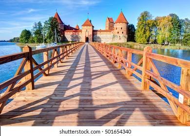 Trakai Island Castle Museum in the early fall time. Trakai village, Lithuania.