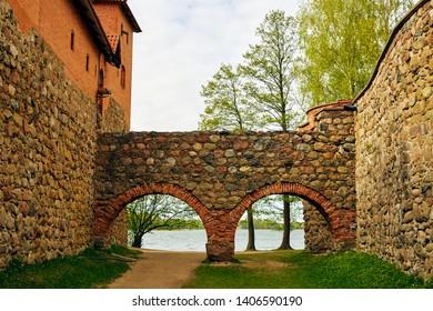Trakai Island Castle Museum. Trakai village, Lithuania. Trakai castle: medieval gothic Island castle, located in Galve lake. Photo of the most beautiful Lithuanian landmark. Trakai Island Castle - one