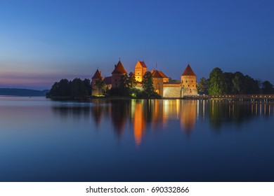Trakai Island Castle in night time. Trakai, Lithuania, Eastern Europe.