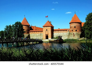 Trakai Island Castle on Galve lake in Lithuania