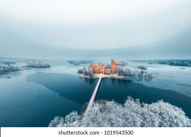 Trakai Island Castle, winter season, aerial view. History Museum. Lithuania in winter.