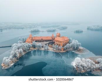 Trakai Island Castle, winter season, aerial view. History Museum. Lithuania in winter.