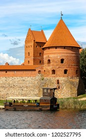 Trakai, Lithuania - Circa August, 2018. View of Trakai castle in sunny day, lake Galve, Lithuania. Details of architecture.