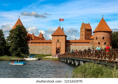 Trakai, Lithuania - Circa August, 2018. View of Trakai castle in sunny day, lake Galve, Lithuania.