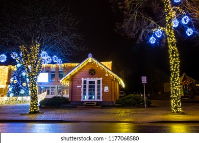 trakai lithuania december 28 2017 christmas light decorations in city christmas