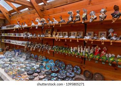 Trakai, Lithuania - Mart 17, 2019: lithuanian souvenirs on street market near by Trakai Island Castle