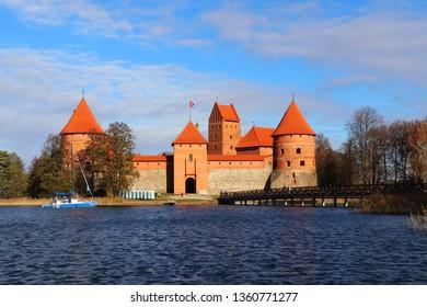 Trakai , Lithuania - October 18, 2018 : Beautiful day in Trakai Island Castle, Trakai , Lithuania.