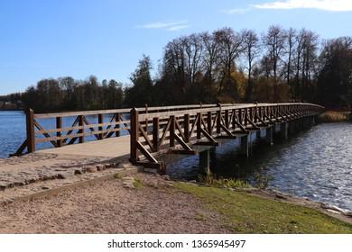 Trakai , Lithuania - October 22, 2018 : Tourism walking on bridge in Trakai Island Castle, Trakai , Lithuania.