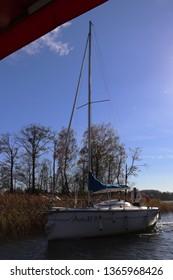Trakai , Lithuania - October 22, 2018 : Boat in Trakai Island Castle, Trakai , Lithuania.