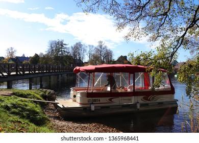Trakai , Lithuania - October 22, 2018 : Boat at Trakai Island Castle, Trakai , Lithuania.