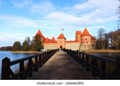 Trakai , Lithuania - October 22, 2018 : Beautiful day in Trakai Island Castle, Trakai , Lithuania.