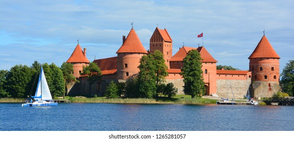 "TRAKAI LITHUANIA SEPTEMBER 14 2015: Trakai Island Castle is an island castle located in Trakai, Lithuania on an island in Lake Galve. The castle is sometimes referred to as ""Little Marienburg""."