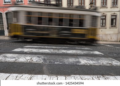 Tram Carris of Lisbon in Motion