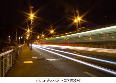 Tram crossing a bridge in Prague, Czech Republic