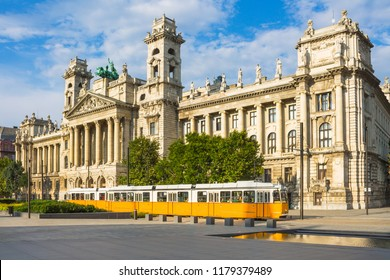 Tram in front of Ethnographic Museum in Budapest - Public transport in Hungary