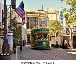 Tram at the The Grove, entertainment and shopping complex in Los Angeles, California. USA. October 2017