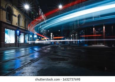 Tram lighttrail in Oslo Norway