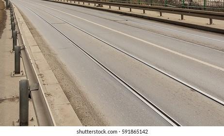 Tram line on  the street  in Belgrade