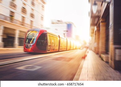 a tram moving in the streets of casablanca