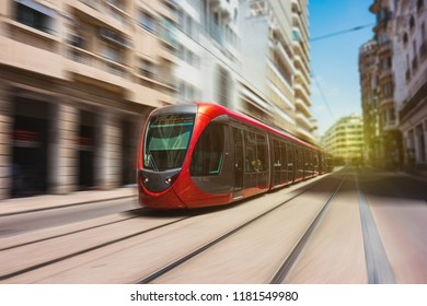 a tram moving in the streets of casablanca - Morocco