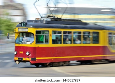 Tram on the city streets (Lodz, Poland)